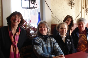 Friday, March 7: The first Maven's Mega-Mile Mystery Lunch in Canajoharie, NY. Good food and wonderful conversation - books, books, books! (L to R): Carol Pouliot, Susan Sundwell, Karen Mollenkopf-Lasher, Jenny Milchman, Angie Hogencamp.